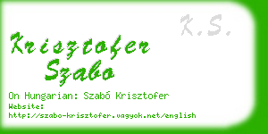 krisztofer szabo business card